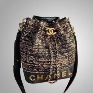 Chanel-black-and-gold-Wool-Bucket-Bag